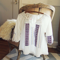 70's Embroidered Blouse