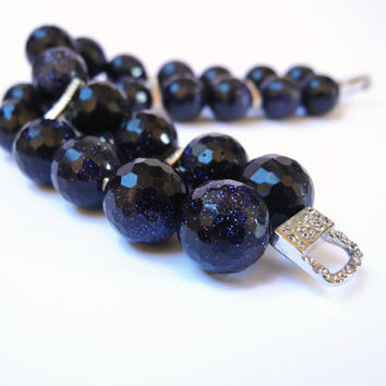 Dark blue bracelet, handmade gemstone beaded two strands bracelet of blue goldstone  and sterling silver, finished with a magnetic clasp