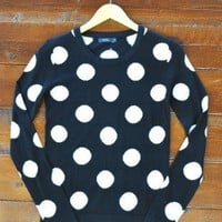 Playful Prep Sweater - $68.00: From ourchoix.com, this gorgeous black & white polka dot sweater is on trend for Autumn!
