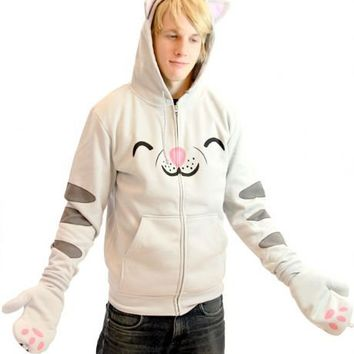 The Big Bang Theory Soft Kitty Gray Mens Hooded Sweatshirt Hoodie with Ears - The Big Bang Theory - | TV Store Online
