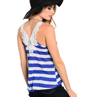 Sleeveless Striped Knit Tank W/ Crochet Back