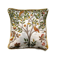 "William Morris ""Kelmscott Tree"" Arts and Crafts, beige, gold and green, embroidered linen cushion, throw pillow, home decor 18 x 18 inches."