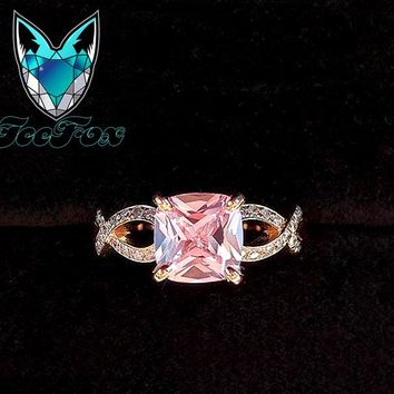 Breast Cancer ring Survivor or Memorial 7mm Cushion Cut Cultured Pink Sapphire set in a 14K Rose Gold Ribbon Twist Band