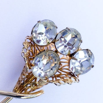 French Crystal  Brooch Floral Bouquet 1960s Vintage Jewelry
