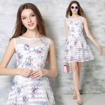 Floral Summer Print Sleeveless Vest Dress Slim Lace Patchwork One Piece Dress [10356946445]