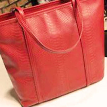 Scarlett Wine Red Faux Crocodile Pattern Leather Big One Shoulder Tote Bag