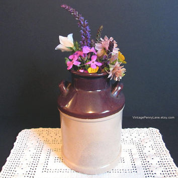 Vintage Stoneware Crock, Vase, Utensil Holder, Rustic / French Country / Farmhouse Chic