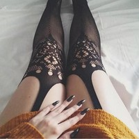 Black Floral Cut Out Skinny Clubwear High Waisted Fishnets Socks