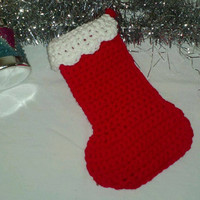 Holiday Special Crocheted Red and White Traditional Christmas Stocking Ready to Ship