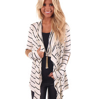Ivory Cardigan With Camel Suede Patch