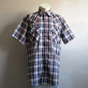 Vintage 1970s Levis Shirt Blue Plaid Levi Strauss Short Sleeve Western Rockabilly Shirt Large