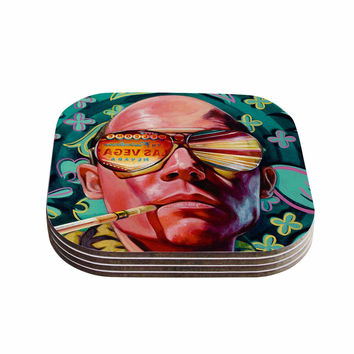 "Jared Yamahata ""Bad Trip"" Pop Art Floral Coasters (Set of 4)"
