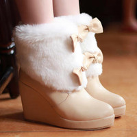 YESSTYLE: Grace Candy- Faux-Fur Accent Wedge Boots - Free International Shipping on orders over $150
