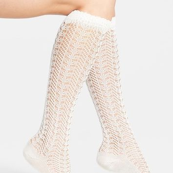 Women's Free People Pointelle Knit Knee Socks - Brown