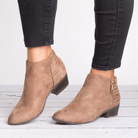 Zipper Faux Suede Bootie- Taupe