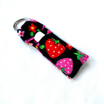Cute Strawberry Chapstick Keychain - Kawaii Strawberry Lip Balm Holder Cozy