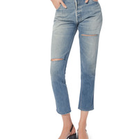 High-Rise Ripped Ankle Crop Jeans