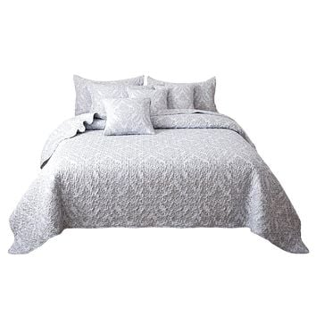 Tache Austere Grey Moon Sky Contemporary Paisley Damask Bedspread Set (TB300-199)