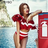 SIBYBO Ruffles Crop Top Two Pieces Set Jumpsuit Romper Women Sexy Club Bodysuit Summer Off Shoulder Beach Playsuit Overalls
