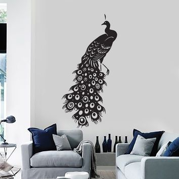 Vinyl Wall Decal Beautiful Peacock Bird Room Decor Mural Stickers Unique  Gift (ig2815)