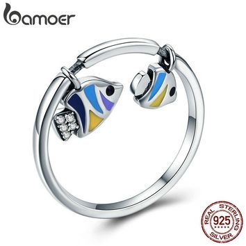 BAMOER Authentic 925 Sterling Silver Tropical Fish Finger Rings for Women Colorful Enamel Sterling Silver Ring Jewelry SCR380
