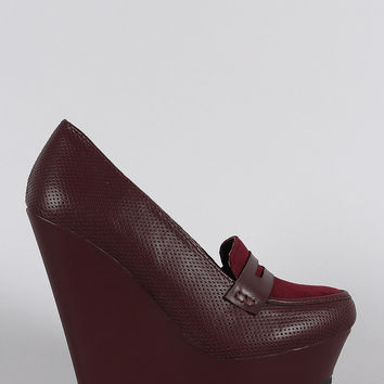 Bamboo Perforated Loafer Platform Wedge