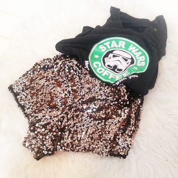 Sequin Embellished Womens Short Shorts