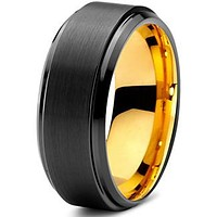 8mm Yellow Gold Tungsten Beveled Step Edge Black Pipe Cut