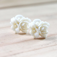 Flower Plugs Off White Floral Rose Bouquet Custom Size 4g 2g 0g 00g Wedding Bridal Gauges for Stretched Ears
