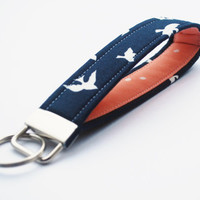 Flying Birds Key Chain, Fabric Key Fob, Wristlet Keychain, Navy, Coral, and White