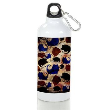 Gift Sport Bottles | Pattern Cats In Wood Aluminum Sport Bottles