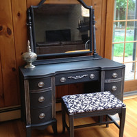 SOLD----Silver Accent Antique Vanity