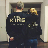 "Black ""The King and His Queen"" Back Letter Print Long Sleeve Jacket"