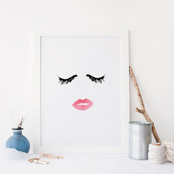 MAKEUP PRINT,Wall Decor,Digital Wall Art,Bathroom Decor,Wake Up And Makeup,Lips Art,Lash Art,Beauty Print,Fashion Art,For Girl,Glamour