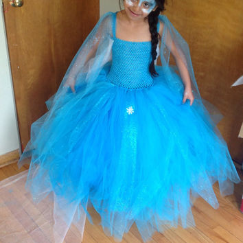 Elsa dress with cape /queen elsa dress /frozen dress/ elsa tutu dress/ elsa costume/matching headband