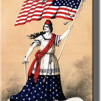 American Woman Holding Flag Picture on Acrylic , Wall Art Décor, Ready to Hang!
