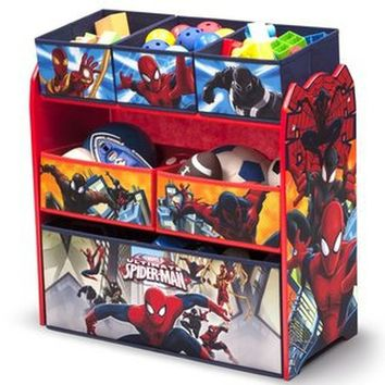 Marvel Spider-Man Multi-Bin Toy Organizer Kids Room Storage and Furniture