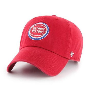ONETOW NBA Detroit Pistons Red Clean Up Adjustable Hat