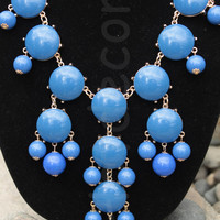 Blue Statement necklace bubble necklace Bib necklace Beaded Necklace blue jewelry for holiday Chunky Necklace Cluster Necklace