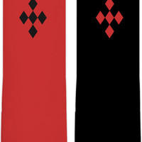 Harley Quinn style crew socks, black and red geometric pattern, two tones asymetric fashion accessories