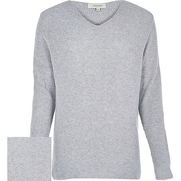 River Island MensGrey V-neck long sleeve sweater
