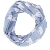 Elephant Print Infinity Scarf by Charlotte Russe - Blue