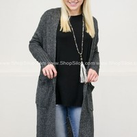 Knit Pocket Maxi Cardigan | Charcoal