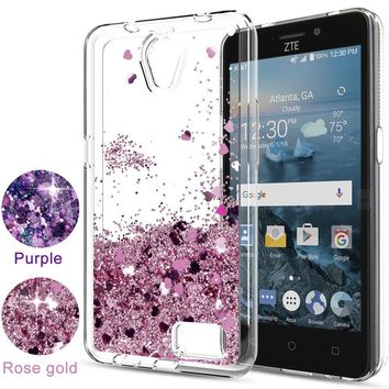 For ZTE Cell Phone Case Cute Shiny Glitter Moving Liquid Quicksand Clear Soft TPU Protective Cover