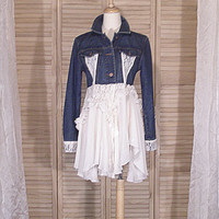 Ooak Romantic Lagenlook Shabby Lace Denim Jacket Eco Upcycled Western Girl Reconstructed Mori Cropped Denim Jean Jacket S/M