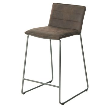 Keane PU Leather Bar Stool, Antique Bistre Brown (Set of 2)