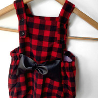 Baby Romper, Red Buffalo Plaid for a Baby Lumberjack or Baby Lumberjane,optional black faux leather bow and snap crotch, Infant Sizes