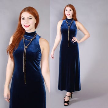 Vintage 90s DRESS / 1990s Dark Midnight BLUE Velvet Sleevless Maxi Dress