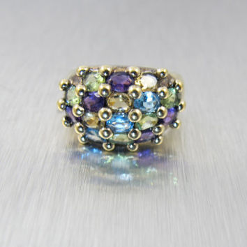 Sterling Multi Color Gemstone Ring, Gold Vermeil Amethyst Peridot Citrine Blue Topaz, Wide Domed Statement Cocktail Ring, Size 7