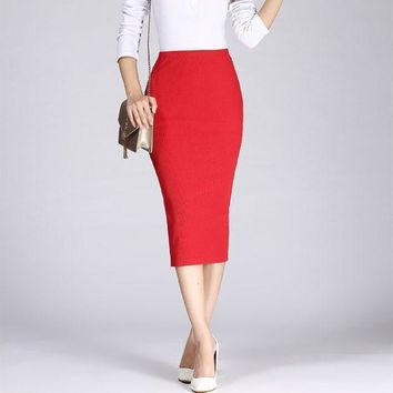2016 Spring Summer Long Pencil Skirts For Womens Sexy Slim Package Hip Maxi Skirt Ladies Sexy Chic Wool Rib Knit Midi Skirt Saia